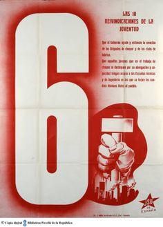 Las 10 reivindicaciones de la juventud : 6, Que el gobierno ayude y estimule a la creación de las brigadas de choque y de los clubs de fábricas ... :: Cartells del Pavelló de la República (Universitat de Barcelona)