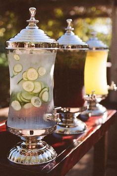 vintage outdoor country rustic outdoor wedding drink dispenser idea