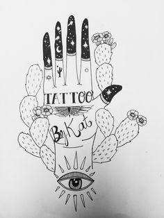 Hand, art, doodle, tattoo, dot work, tattoo design, dot work tattoo, hamsa, cactus