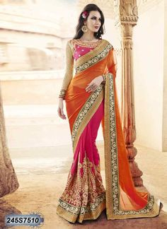 Dreamy Pink and Orange Coloured Georgette Embroidered Saree