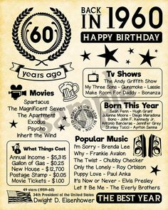 1959 fun facts 1959 birthday gift for husband gift for dad father for 60th Birthday Ideas For Dad, 60th Birthday Party, Husband Birthday, 60th Birthday Messages, Birthday Crafts, 60th Birthday Decorations, 60th Birthday Sayings, Happy 60th Birthday Wishes, 60th Birthday Presents