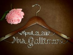 Personalized Bridal Hanger Wedding Dress Hanger by einspanner, $33.99 This is the cutest one I've seen so far!!