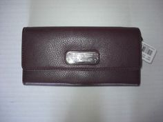 Marc by Marc Jacobs New Q Long Leather Trifold Wallet Eggplant NWT #MarcbyMarcJacobs #Trifold