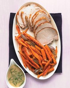 Roast Pork Loin with Carrots and Mustard Gravy: