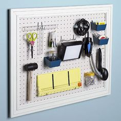 For the craft room - Add molding around the edges of pegboard and paint to match your room, then customize it .