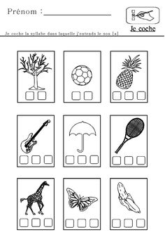 Sons et Syllabes en maternelle et CP Maternelle Grande Section, French Course, 1st Grade Math Worksheets, Cursive, Syllable, French Lessons, Grade 1, Activities For Kids, Teaching