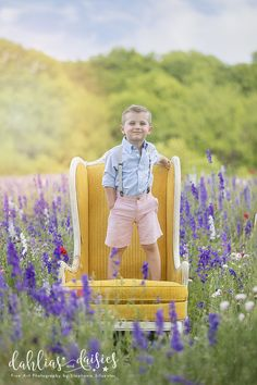 Dallas Family Photographer, wildflowers, boy, yellow chair, vintage chair Preppy Girl, Blue Bonnets, Vintage Chairs, Photographing Kids, Siblings, Family Photographer, Wild Flowers, Baby Kids, Parents