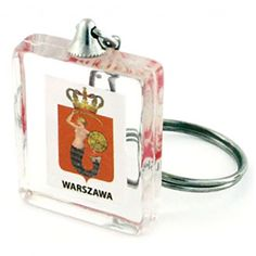 Acrylic keychain with sunken the coat of arms of Warsaw. Warsaw, Coat Of Arms, Keychains, Gadgets, Tableware, Cool Gadgets, Cubes, Key Rings, Pendants