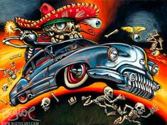 Calavara Custom by Big Toe Kustom Kulture Canvas Fine Art Print – moodswingsonthenet Arte Lowrider, Canvas Art Prints, Fine Art Prints, Rockabilly Art, Garage Art, Lowbrow Art, Car Drawings, Chevy, Automotive Art