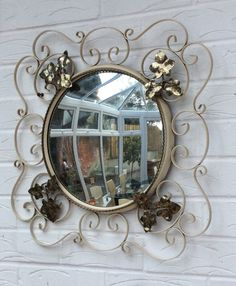 Vintage convex mirror wrought iron cream and by TheLittleIrishShop