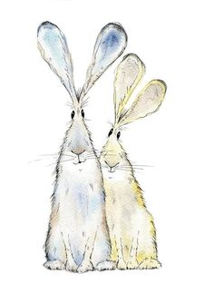 Hare print – two hares print, limited edition print - Ink Painting Watercolor Animals, Watercolor And Ink, Watercolor Paintings, Ink Paintings, Watercolor Trees, Watercolor Portraits, Watercolor Landscape, Abstract Paintings, Animal Paintings