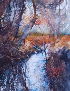'Woodland Reflections'  painted by Ann Blockley featured in 'Experimental Landscapes in Watercolour '