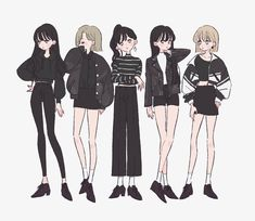Clothes Draw, Drawing Anime Clothes, Fashion Design Drawings, Fashion Sketches, Character Outfits, Character Art, Mode Kpop, Friend Anime, Cute Art Styles