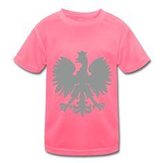 Polska Kids T-Shirt atmungsaktiv Neonpink (Silbergrau/Samtig) - Kinder T-Shirt atmungsaktiv