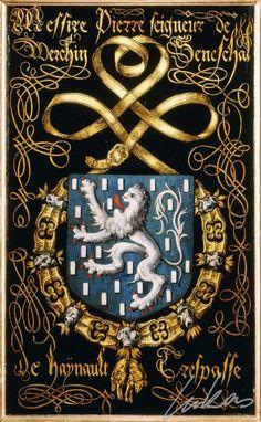 """(211) Pierre """"de BARBANÇON"""", baron de Werchin, sénéchal du Hainaut (ca1500-1557) -- """"Messire Pierre, seigneur de Werchin, seneschal de Haÿnault. Trespasse"""" -- Armorial plate from the Order of the Golden Fleece, 1559, Saint Bavo Cathedral, Gent --  Panneau de trépassé."""