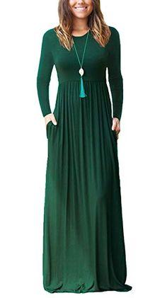e6f0a1275c PCEAIIH Women Long Sleeve Loose Plain Maxi Dresses Casual Long Dresses with  Pockets Dark Green Large