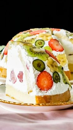 Fruit Dome Cake - - Oh no no, this is NOT your average fruit cake. Cake Icing, Cupcake Cakes, Kiwi And Banana, Dessert Aux Fruits, Free Fruit, Mousse Cake, Cake Ingredients, Savoury Cake, Clean Eating Snacks