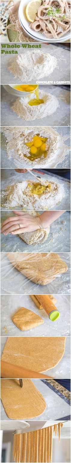 Homemade Whole Wheat Pasta without a machine! Wheat Pasta Recipes, Fettuccine Pasta, Linguine, Pasta Noodles, Homade Noodles, Whole Wheat Pasta, Cooking Recipes, Healthy Recipes, Bread Recipes