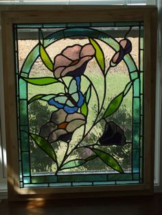 Stained Glass Panel  Flowers and Butterfly by TOPGLASS on Etsy, $450.00