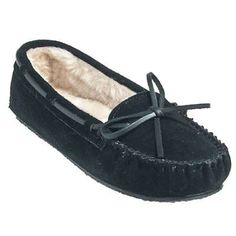 Minnetonka womens black cally 4010 suede moccasin slippers in Men Moccasins Slippers
