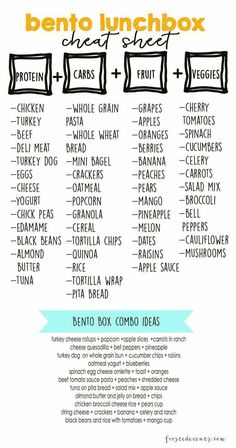 Bento Lunch Box — Lunch Ideas and a free printable cheatsheet of meal combinations for busy moms. Checkout our favorite bento lunch boxes, prep essentials and lots of fun ideas for packing kid's… Lunch Snacks, Clean Eating Snacks, Lunch Recipes, Healthy Recipes, Work Lunches, Healthy Lunch Boxes, Healthy Eating, Healthy Kid Lunches, Easy Healthy Lunch Ideas
