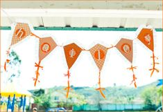 "Love this darling kite banner (the whole party is so stinkin' adorable! I want to throw an orange ""Let's Go Fly A Kite"" Party! Orange Party, 3rd Birthday, Birthday Party Themes, Birthday Ideas, Kite Decoration, Kite Party, Party Girlande, Go Fly A Kite, Bold Logo"