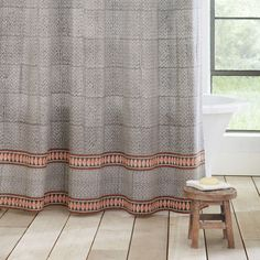 Grandin Road Rabari Shower Curtain ($39) ❤ liked on Polyvore featuring home, bed & bath, bath, shower curtains, grandin road, orange shower curtains and gray and white shower curtains