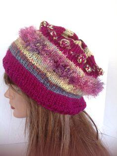 Beanie Slouch Beret Cap Hat Victorian Garden by HANDKNITS2LOVE