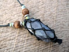 Mens iolite necklace, boho macrame pendant, iolite crystal netted stone, wood, Czech glass and metal beads, handmade and one of a kind