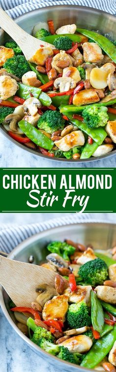 This recipe for chicken almond ding is a stir fry full of chicken, veggies and crunchy almonds, all tossed in a savory sauce. The perfect healthy dinner thats ready in a flash! chicken recipes for dinner Healthy Chicken Recipes, Asian Recipes, Diet Recipes, Cooking Recipes, Recipe Chicken, Gerd Diet, Almond Chicken, Paleo Dinner, Chicken