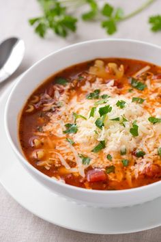 Lasagna Soup featuring KRAFT Parmesan Cheese and HUNTS Tomatoes | CookingClassy.com | #pasta_recipes #soup_recipes