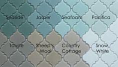 Jasper Arabesque Glass Mosaic Tiles snow white pacifica seafoam