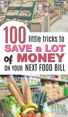 100 Sneaky Little Ways to Save a LOT of Money on your Next Food Bill Awesome list of grocery shopping hacks and ideas to do food shopping on a budget. Loved that it wasn't only about cutting coupons and had advice for healthy food for the entire family. Money Saving Meals, Save Money On Groceries, Ways To Save Money, Groceries Budget, Money Tips, Money Hacks, Frugal Meals, Frugal Tips, Budget Meals
