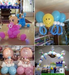 Unas ideas presiosas con globos: decoración para baby shower