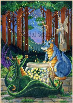 Randal Spangler ~ Draglings I ~ Firefly Evening Dragon Cat, Funny Dragon, Baby Dragon, Magical Creatures, Fantasy Creatures, Fantasy Dragon, Fantasy Art, Dark Fantasy, Randal