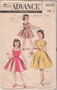 Advance 8538 Vintage 50's Sewing Pattern Pretty As A Princess Mother & Daughter GIRLS Empire Waist Foldover Collar, Inset Contrast Godets Full Skirt Dress Pattern #MOMSpatterns