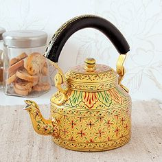 Indian Hand Painted Aluminium Gold Hand Painted Traditional Tea Kettle Pot ** This is an Amazon Associate's Pin. Read more reviews of the product by visiting the link on the image.