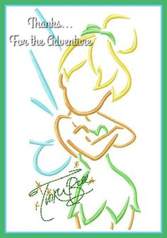 Tinker Bell Sketch with Autograph Combo Digital Embroidery Machine  Design File 5x7 6x10 by Thanks4TheAdventure on Etsy