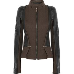 Haider Ackermann Paneled wool-blend, leather and python jacket (€1.355) ❤ liked on Polyvore featuring outerwear, jackets, brown, zipper jacket, pocket jacket, snakeskin jacket, zip jacket and snake print jacket