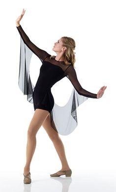 Contemporary INFINITY Ballet Dance Costume w/ Drapes Black Acro Biketard CS-AXL #Cicci