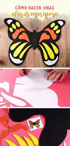 Si te gustan mucho las mariposas y te quieres disfrazar esta idea te encantará, solo necesitas descargar la plantilla y trazarla sobre el fieltro.