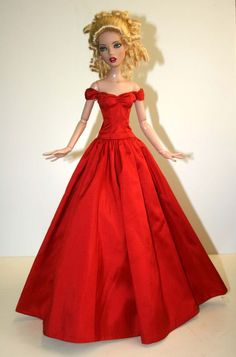 Splendor Red Dupioni Silk Gown for Deja Vu Dolls Tonner
