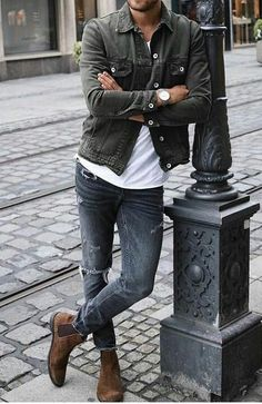 Cool Denim Look! 2019 The post Cool Denim Look! 2019 appeared first on Denim Diy. Outfits Hombre Casual, Trendy Outfits, Mens Fall Outfits, Short Outfits, Stylish Men, Men Casual, Casual Styles, Man Street Style, Mode Hipster