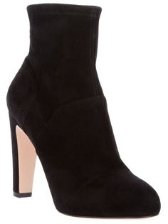 Black Chamois leather ankle boot from Gianvito Rossi featuring a round toe, thick high heel and a concealed platform.