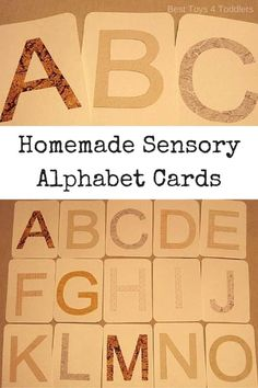 Best Toys 4 Toddler - DIY Tactile Sensory Letter Cards made from wallpaper scraps (free printable letter templates) Kids Learning Activities, Learning Letters, Alphabet Activities, Sensory Activities, Kindergarten Activities, Preschool Activities, Sensory Play, Educational Activities, Sensory Bins
