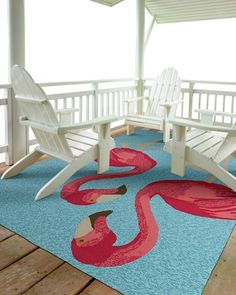 Pink Flamingos in Blue Area Rug