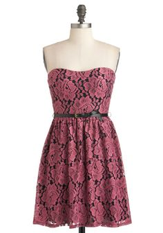 Simply Cherished Dress - Short, Pink, Black, Floral, Belted, Party, A-line, Strapless, Lace, Cocktail, Girls Night Out