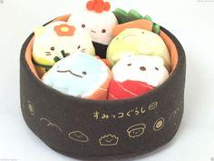 San-X Sumikko Gurashi Sushi Party Plush Set Kawaii Toy Shirokuma Neko Japan