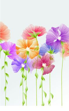 Bright with Flowers free vector 03 - Vector Flower free download