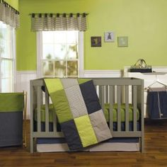 Chevron, gingham, mini dots and pinstripes give your little man's nursery a modern tailored feel. Perfectly Preppy features homespun patterned patches in a handsome color palette of navy blue, sweat pea green, warm gray and crisp white.